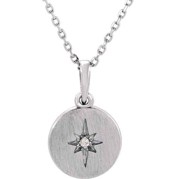 "Diamond Starburst Necklace in Rhodium-Plated 14k White Gold, 16-18"" (.08 Ctw, Color G-H, Clarity I1)"
