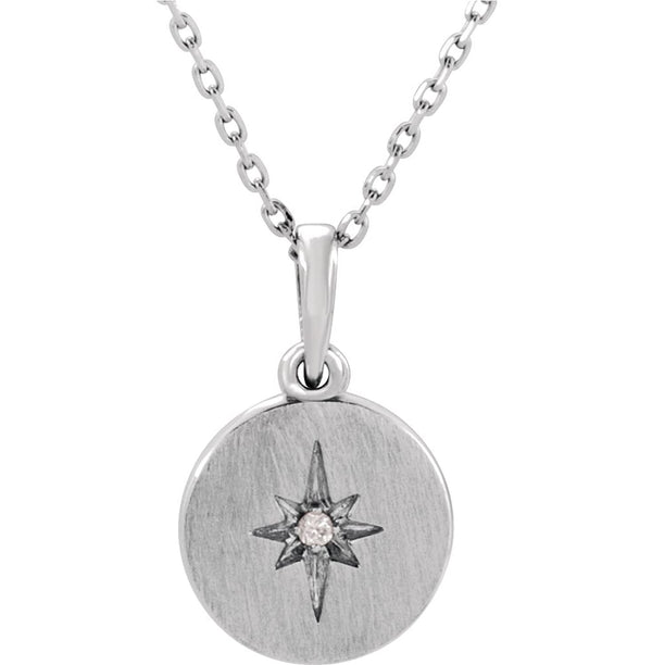 "Platinum Diamond Starburst Necklace, 16-18"" (.08 Ctw, Color G-H, Clarity SI2-SI3)"