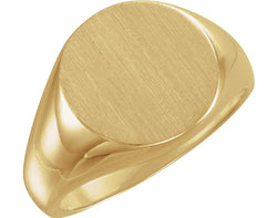 Men's 10k Yellow Gold Brushed Signet Ring (18mm)