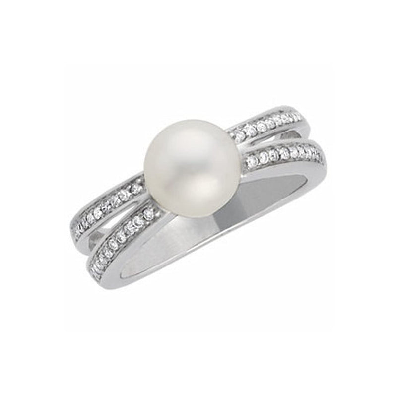 White Freshwater Cultured Pearl and Diamond Ring, 14k White Gold (8mm) (.2Ctw, H-I Color, I1 Clarity)