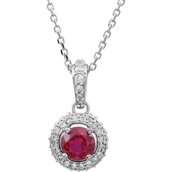 "The Men's Jewelry Store (for HER) Ruby and Diamond Entourage 14k White Gold Pendant Necklace, 18"" (1/4 Cttw)"