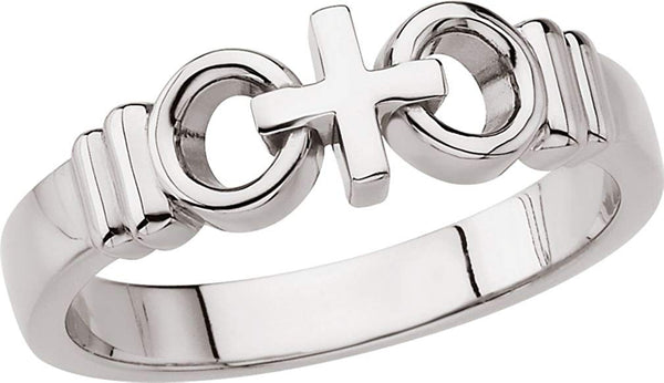 Women's 'Joined By Christ' Cross Wedding Ring, 7mm Rhodium-Plated 14k White Gold, Size 4