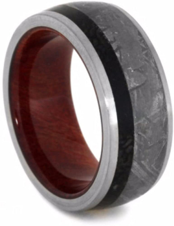 Gibeon Meteorite, Dinosaur Bone, Ruby Redwood 9mm Comfort-Fit Titanium Wedding Band, Size 11