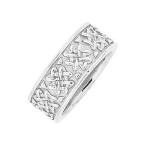 Eternity Celtic Knot Semi-Polished 14k White Gold Band 8.25mm