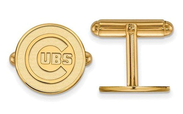 Gold-Plated Sterling Silver, MLB Chicago Cubs round Cuff Links, 15MM