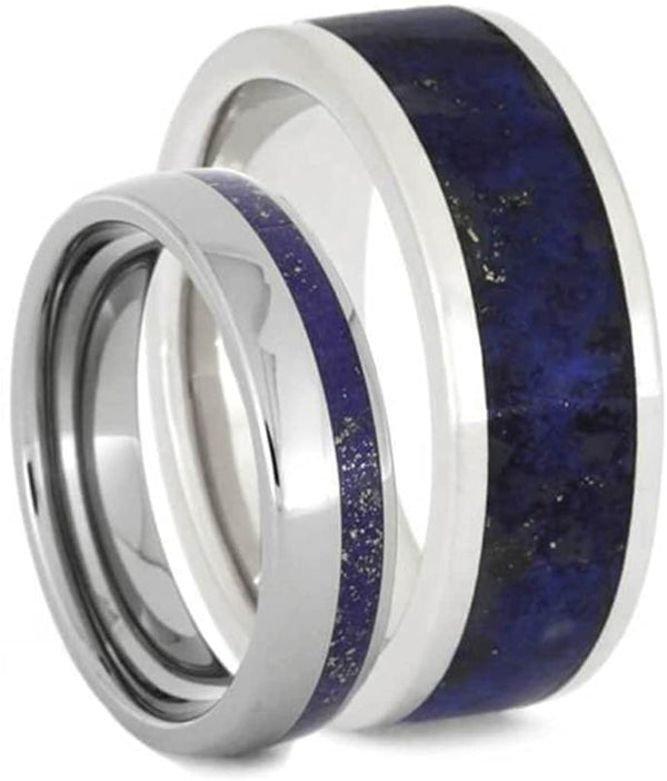 Lapis Lazuli Titanium Band and Lapis Lazuli Platinum Band, His and Hers Wedding Rings