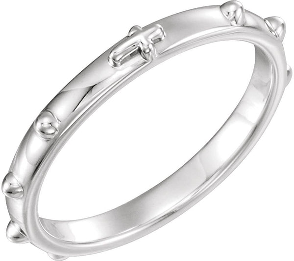 Semi-Polished 10k X1 White Gold 2.50mm Rosary Ring, Size 6