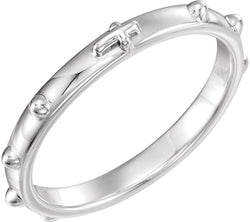 Semi-Polished 10k White Gold 2.50mm Rosary Ring, Size 8