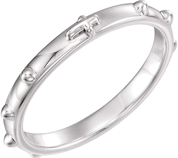 Semi-Polished 14k X1 White Gold 2.50mm Rosary Ring, Size 6