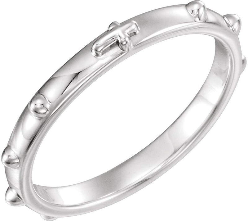 18k White Gold 2.50mm Rosary Ring, Size 11