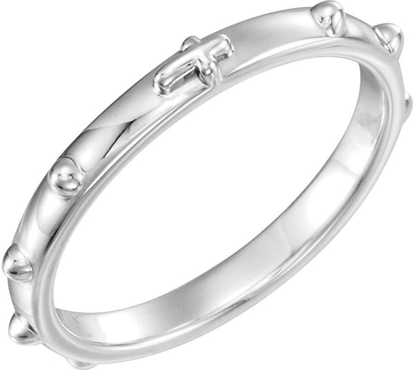 Semi-Polished 18k Palladium White 2.50mm Rosary Ring, Size 6