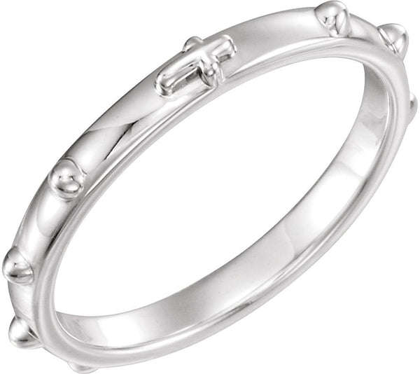 Rhodium Plated Sterling Silver 2.50mm Rosary Ring, Size 10