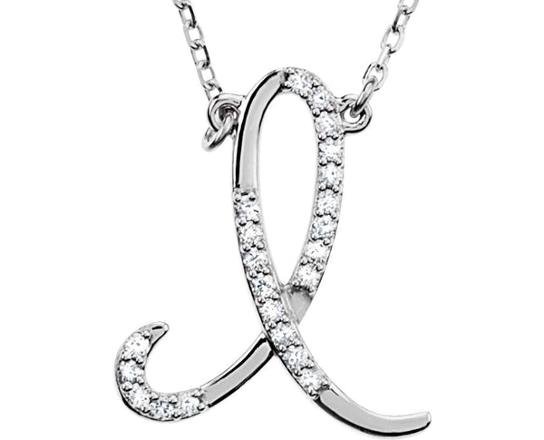 "Diamond Initial Letter 'I' Rhodium-Plated 14k White Gold Pendant Necklace, 17"" (GH, I1, 1/8 Ctw)"
