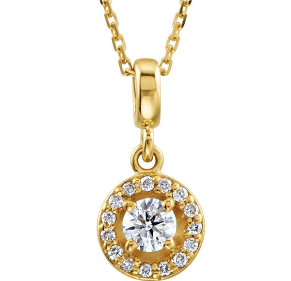 "Diamond Halo-Style Necklace, 14k Yellow Gold, 18"" (0.25 Ctw, Color G-H, Clarity I1)"