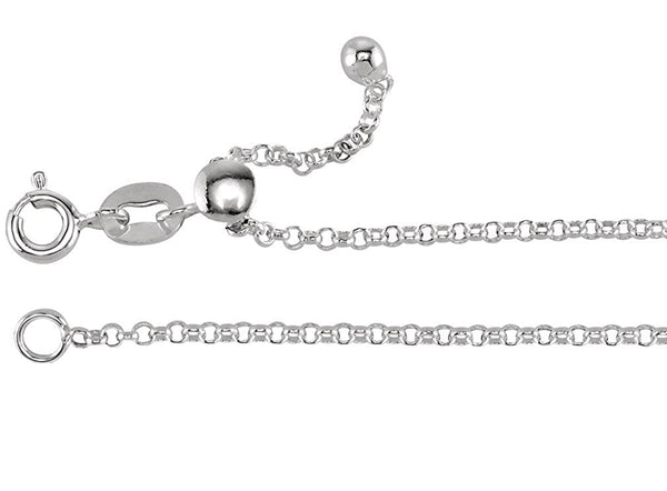 Adjustable Rolo Chain 1.5mm Sterling Silver, 22""