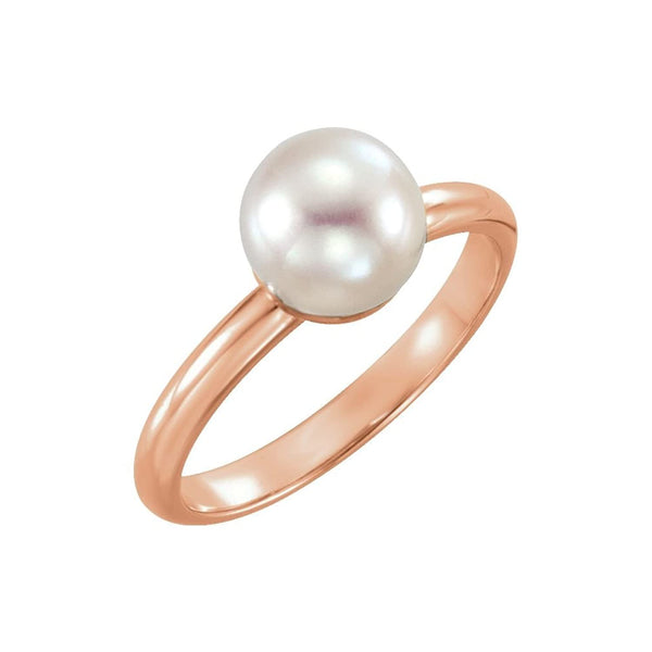 White Freshwater Cultured Pearl Solitaire Ring, 14k Rose Gold (7.5-8mm) Size 7