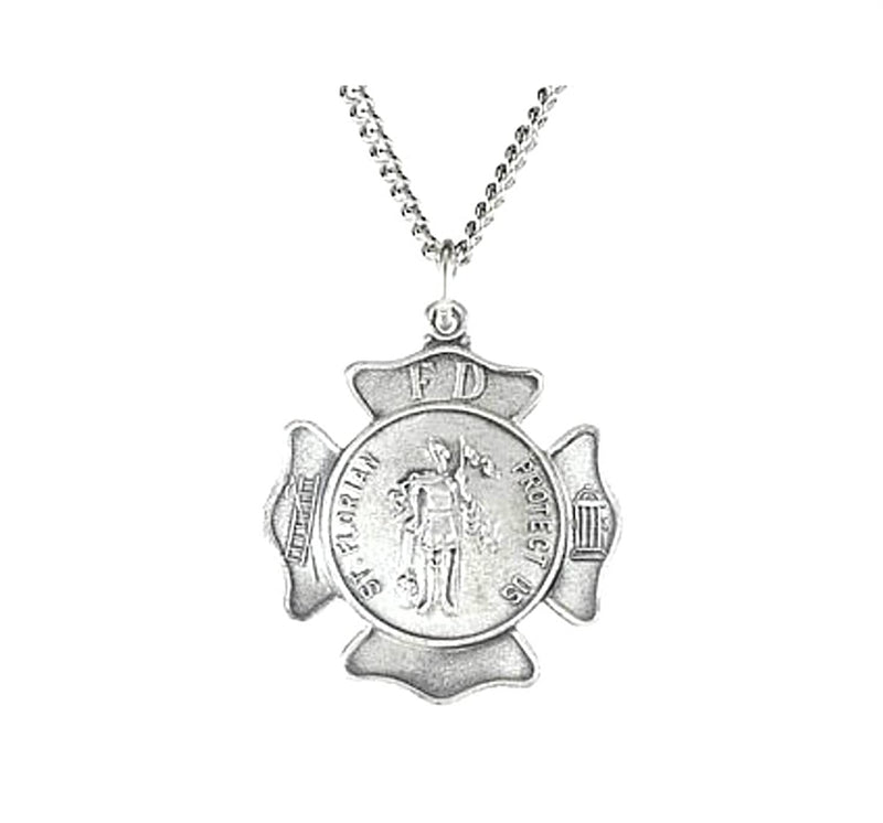 "Sterling Silver St. Florian Necklace, 18"" (16.75 MM)"