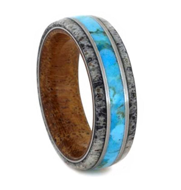 Turquoise, Deer Antler, Mesquite Wood Sleeve 7mm Comfort-Fit Brushed Titanium Wedding Band