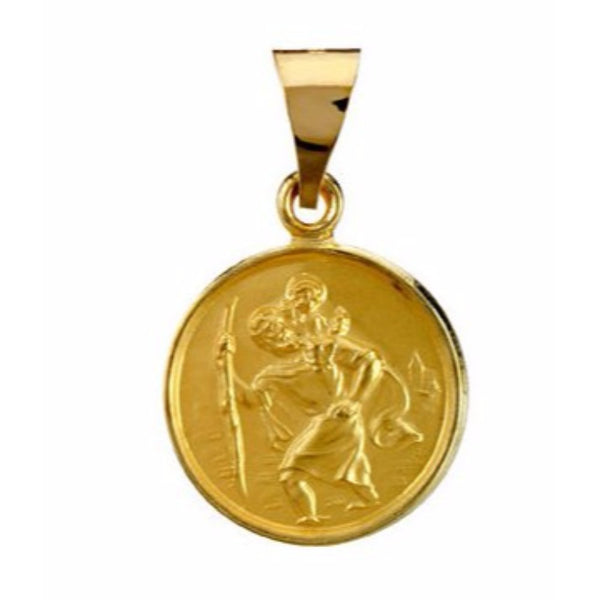 18k Yellow Gold St. Christopher Medal (13 MM)