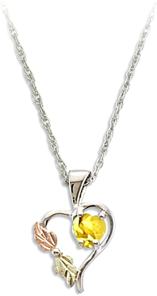 Yellow CZ November Birthstone Heart Pendant Necklace, Sterling Silver, 12k Green and Rose Gold Black Hills Gold Motif, 18""