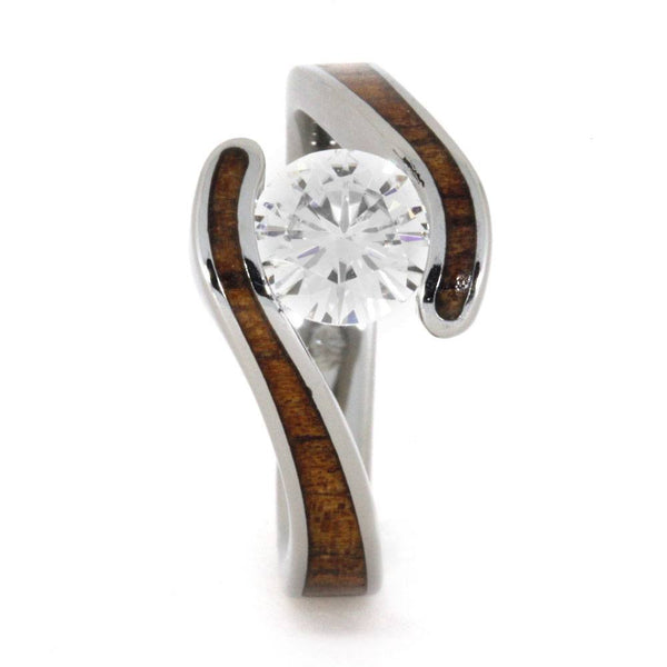 Charles & Colvard Forever One Moissanite, Koa Wood Titanium Engagement Ring and Shadow Wedding Band, Bridal Set Size 13.75