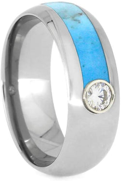 Moissanite, Asymmetrical Turquoise 8mm Titanium Comfort-Fit Band, Size 13.25