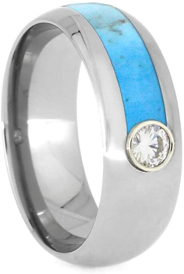 Moissanite, Asymmetrical Turquoise 8mm Titanium Comfort-Fit Band