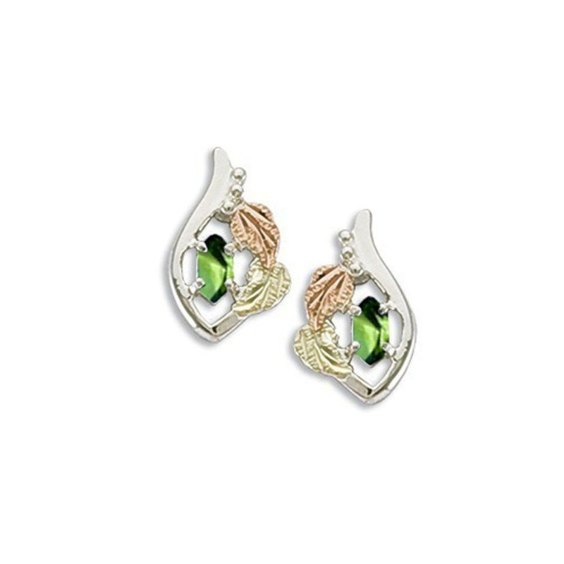 Created Soude Peridot Marquise August Birthstone Earrings, Sterling Silver, 12k Green and Rose Gold Black Hills Gold Motif