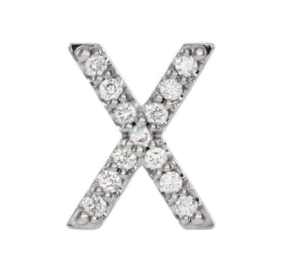 Platinum Diamond Letter 'X' Initial Stud Earring (Single Earring) (.06 Ctw, GH Color, SI2-SI3 Clarity)