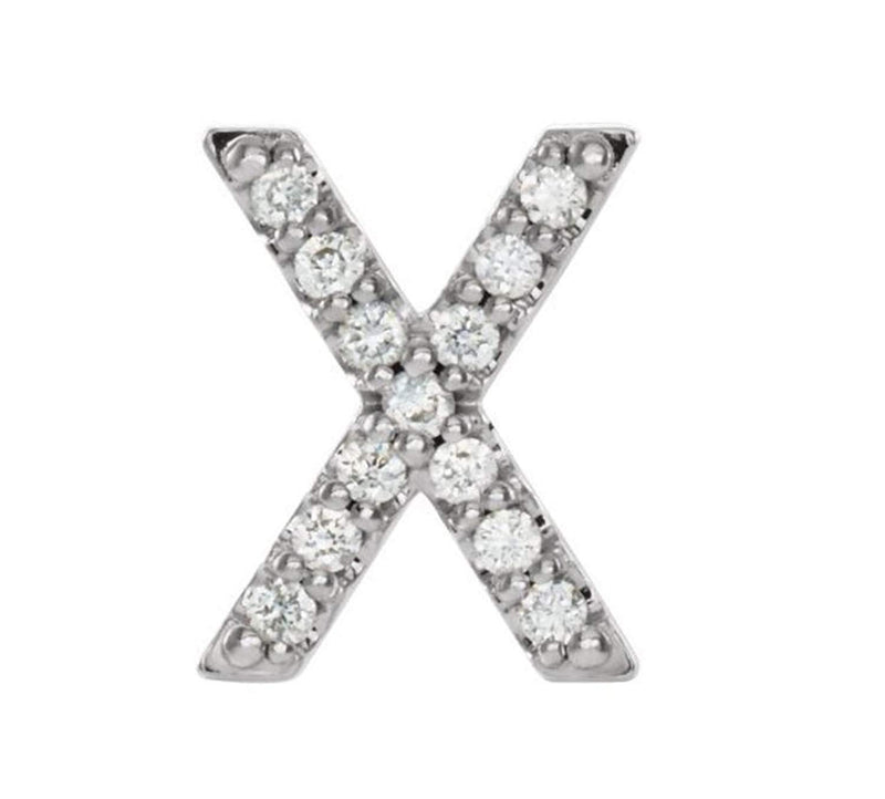 Rhodium-Plated 14k White Gold Diamond Letter 'X' Initial Stud Earring (Single Earring) (.06 Ctw, GH Color, I1 Clarity)