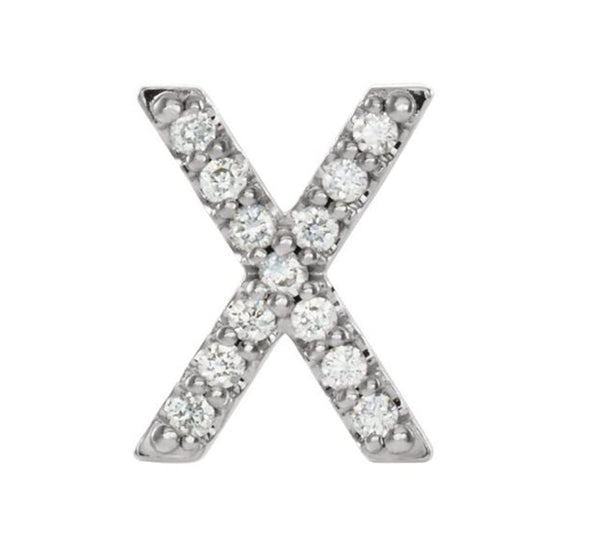 Sterling Silver Diamond Letter 'X' Initial Stud Earring (Single Earring) (.06 Ctw, GH Color, I1 Clarity)