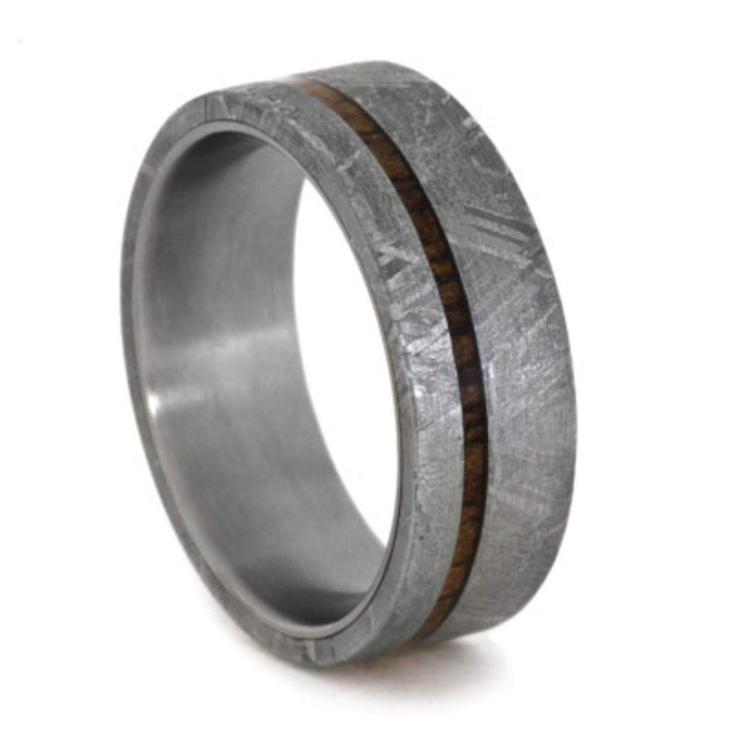 Gibeon Meteorite and Koa Wood 7mm Comfort-Fit Titanium Wedding Band