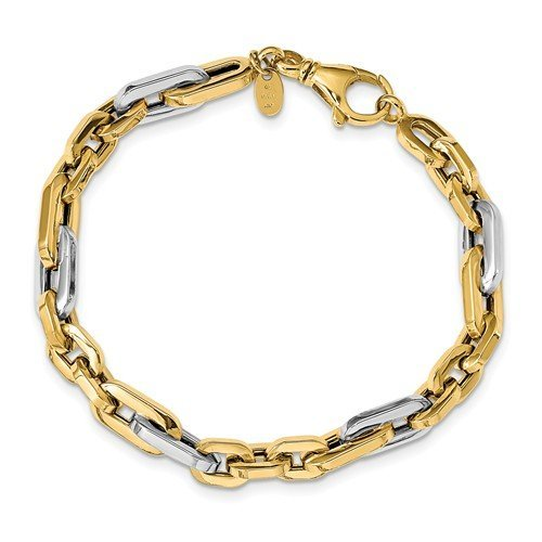 Men's Two-Tone 14k Yellow and White Gold 7.05mm Link Bracelet, 7.75""
