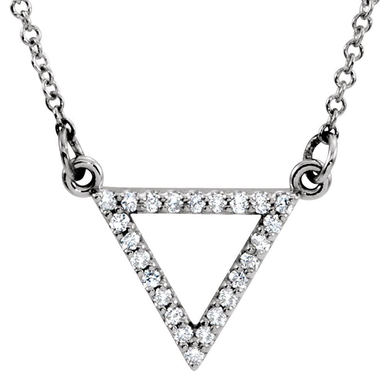 "Diamond Triangle Pendant Necklace 14k White Gold, 16"" (1/8 Cttw)"