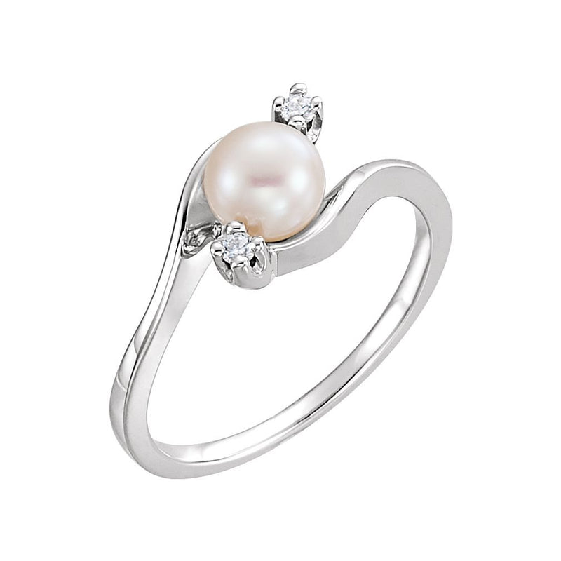 White Akoya Cultured Pearl and Diamond Bypass Ring, Rhodium-Plated 14k White Gold (5.5mm) (.04Ctw, G-H Color, I1 Clarity)
