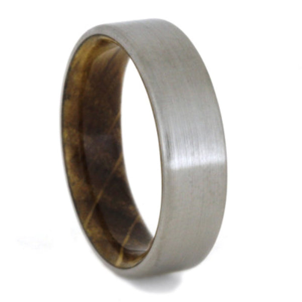 Whiskey Barrel Oak 6mm Comfort-Fit Brushed Titanium Wedding Band