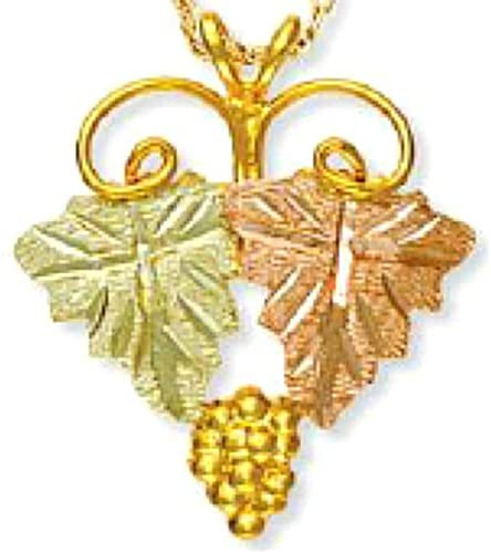 Two Leaf Necklace, 10k Yellow Gold, 12k Pink and Green Leaf Black Hills Gold Motif, 18""