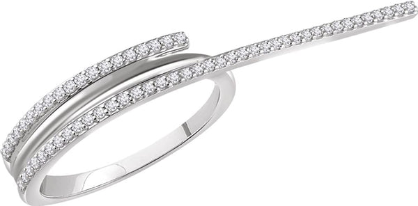 Diamond Two-Finger Ring, Rhodium-Plated 14k White Gold, Size 7 (0.25 Ctw, H+ Color, I1 Clarity)