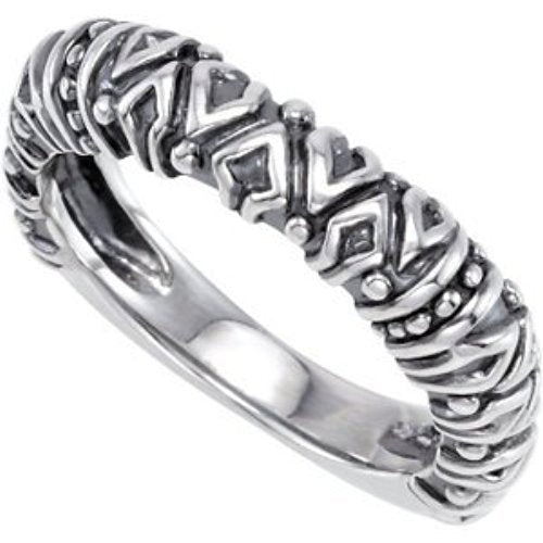 Raised Tribal Pattern 4.5mm Stackable Sterling Silver Ring, Size 7