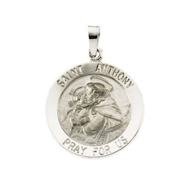 "Sterling Silver St. Anthony Medal Necklace, 18"" (18 MM)"