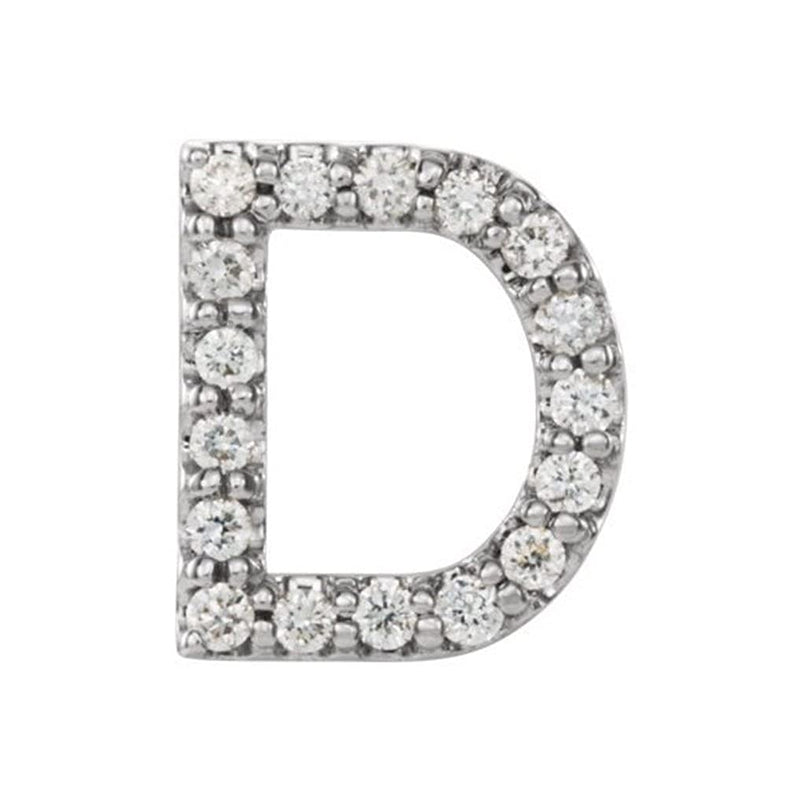 Platinum Diamond Letter 'D' Initial Stud Earring (Single Earring) (.07 Ctw, GH Color, SI2-SI3 Clarity)