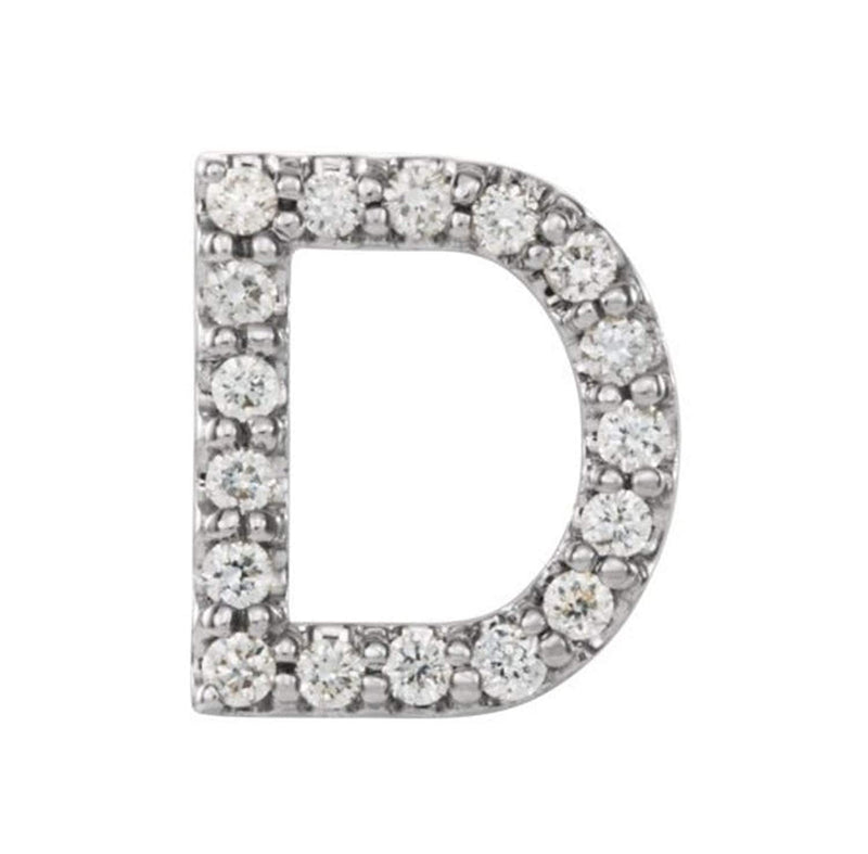 Sterling Silver Diamond Letter 'D' Initial Stud Earring (Single Earring) (.07 Ctw, GH Color, I1 Clarity)