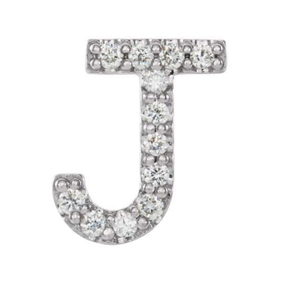 Rhodium-Plated 14k White Gold Diamond Letter 'J' Initial Stud Earring (Single Earring) (.05 Ctw, GH Color, I1 Clarity)