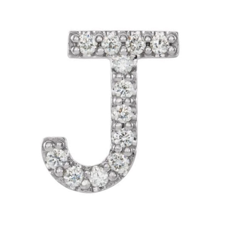 Sterling Silver Diamond Letter 'J' Initial Stud Earring (Single Earring) (.05 Ctw, GH Color, I1 Clarity)