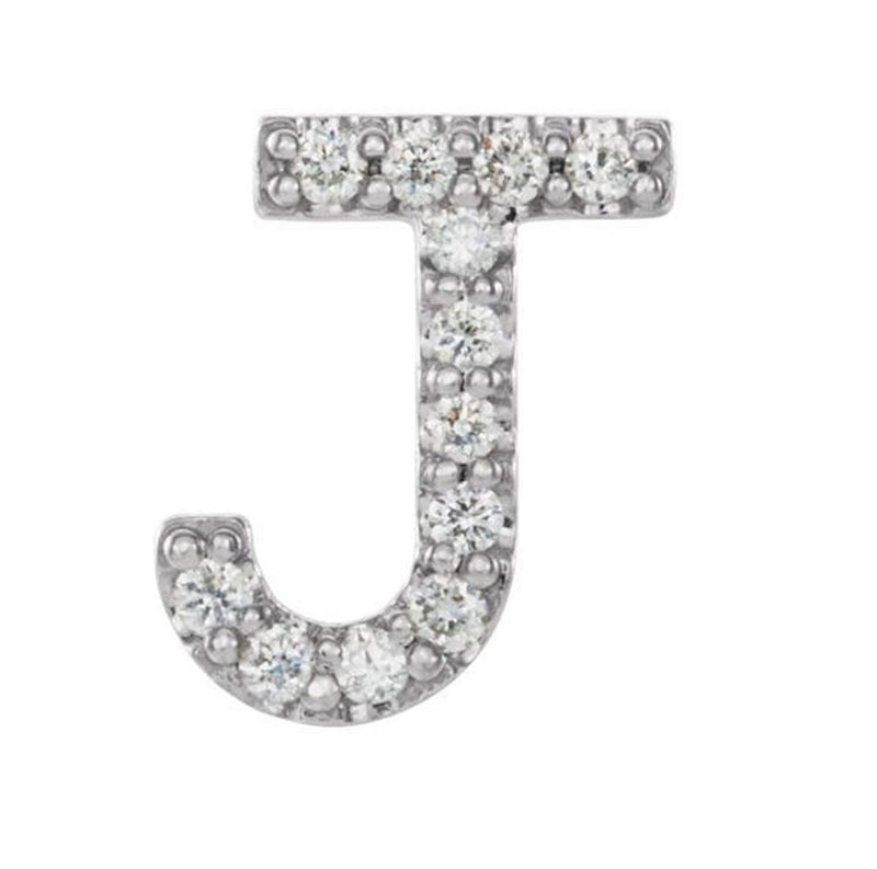 Platinum Diamond Letter 'J' Initial Stud Earring (Single Earring) (.05 Ctw, GH Color, SI2-SI3 Clarity)