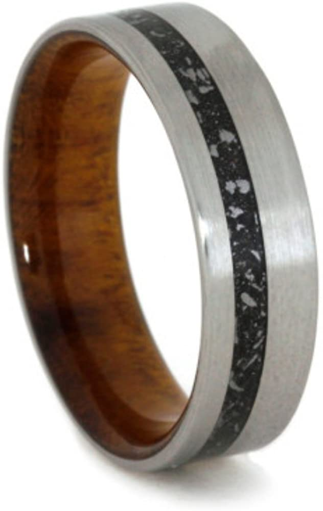 Stardust Meteorite, Ironwood Burl Sleeve 6mm Comfort-Fit Brushed Titanium Band, Size 14.5