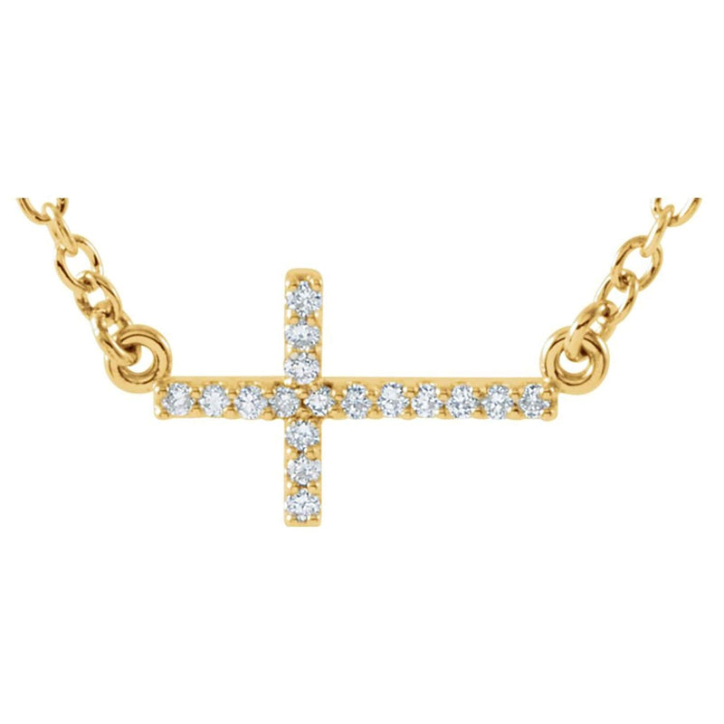 "17-Stone Diamond Sideways Cross 14k Yellow Gold Pendant Necklace, 16-18"" (.01 Cttw)"