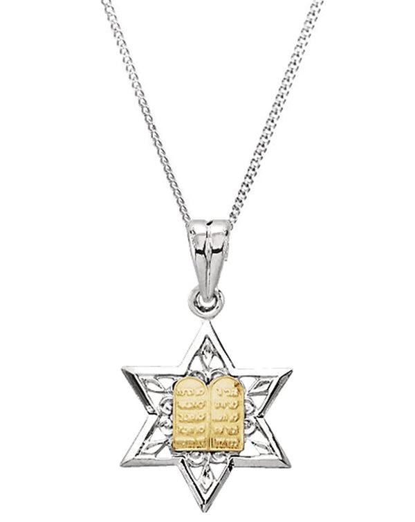 Sterling Silver and 14k Yellow Gold Star of David Pendant Necklace, 24""