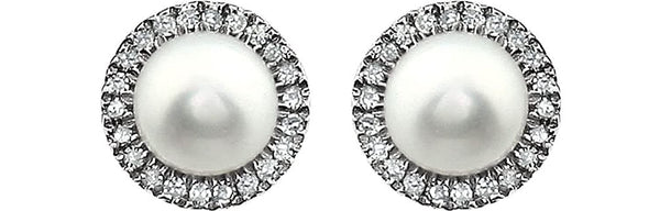 White Cultured Freshwater Pearl and Diamond Halo Button Earrings, Rhodium-Plated 14K White Gold, (5.5-6MM) (.13 Cttw, Color HIJ, Clarity I1-I2)