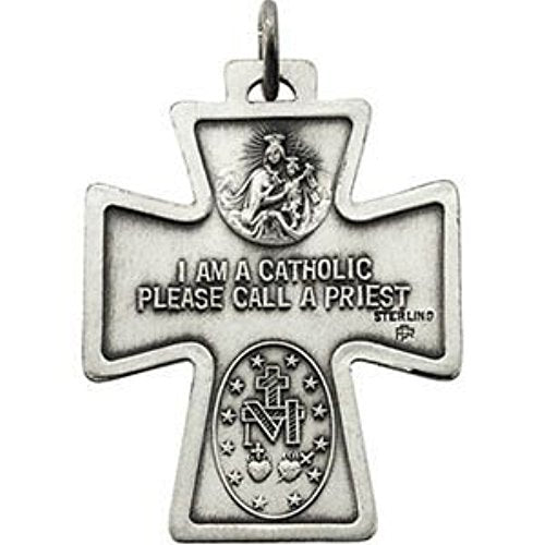 Sterling Silver Four Way Medal Cross Necklace, 24""